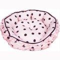 【お取り寄せ商品】わんちゃんねこちゃん用のベッド「フリルクッションベッド 水玉ピンク」